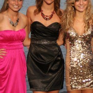 Strapless satin studded dress